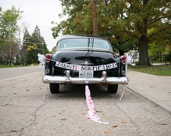 Just married etsy just married banner wedding garland getaway car sign rustic wedding couple photo junglespirit Image collections