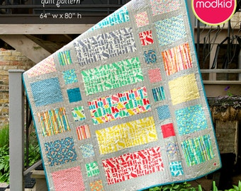 Stop The Presses - quilt e-pattern by MODKID - Instant Download featuring Just My Type by Patty Young