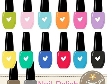 50% OFF Nail Polish Clipart for Planners, Digital Scrapbooking, Invitations, cupcake toppers, Stickers, Labels