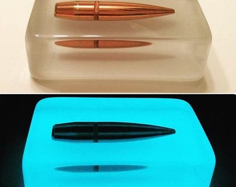 50 BMG Glow In The Dark Paperweight - A Must Have For Any Gun Enthusiast, Military/LEO Or Anyone For That Matter - Man Or Woman!