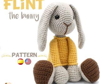 Crochet Bunny PATTERN - Amigurumi Bunny pdf tutorial - Crochet Rabbit Pattern - FLINT the bunny