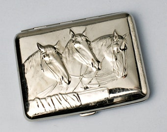 Old Cigarette Case Vintage Cigarette Case Gift For Him Accessories For Men Trio Horses Retro Cigarette Case Vintage Metall Cigarette Case