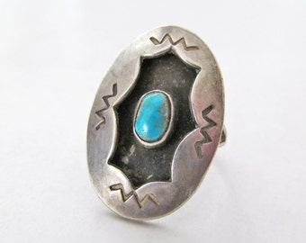 Turquoise Sterling Silver Ring, Vintage Southwestern Jewelry, Turquoise Ring, Shadowbox Ring, Vintage Turquoise Ring, Blue Stone Ring