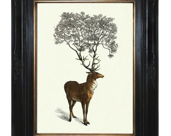 Deer Stag Hannibal Art Print Tree growing from Antlers - Victorian Steampunk art print Woodland Forest Surrealism