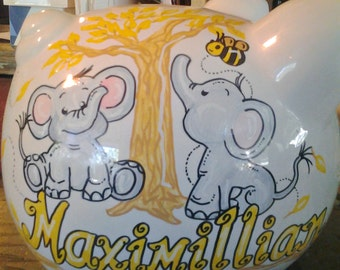 Baby Elephant Piggy Bank Personalized Hand Painted