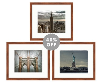 New York Print - set of 3 wall art, blue and beige print set, brooklyn bridge empire state building statue of liberty 5x7 gallery wall decor