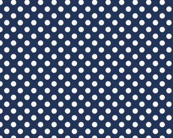 Riley Blake Designs, Small Dots in Navy (C350 21)