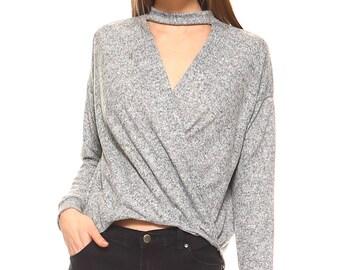 Vaneul Studio's Gray Wrap Front Mock Neck Sweater
