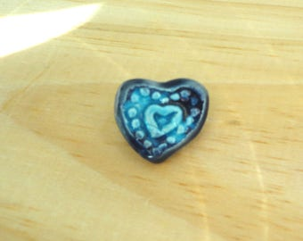 blue heart Ceramic - ceramic-brooch-love and friendship jewelry