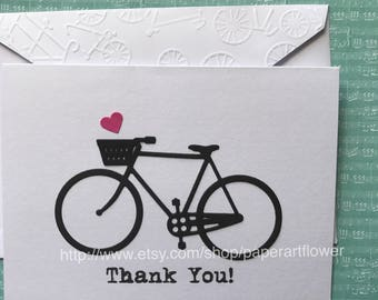 Bicycle Card Set, Thank You Card Set, Stationery Set, Greeting Card Set, Bike Thank You Cards, Blank Note Cards and Envelopes,