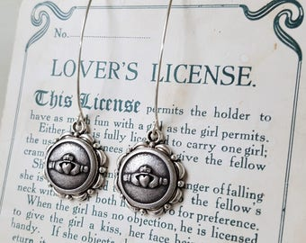 Claddagh Earrings Celtic Button Earrings Jewelry Irish, St. Patricks Day, Claddagh Button Earrings, Upcycled Jewelry veryDonna