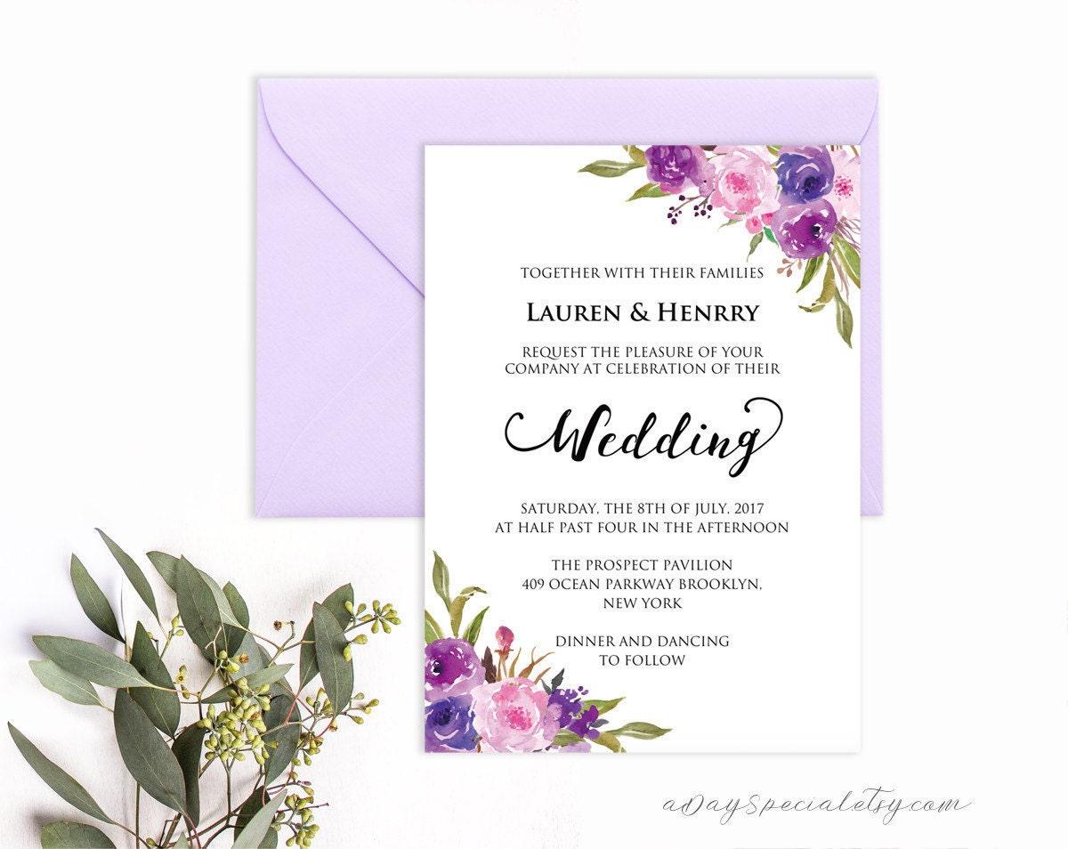 lavender invitation template purple lilac watercolor flowers