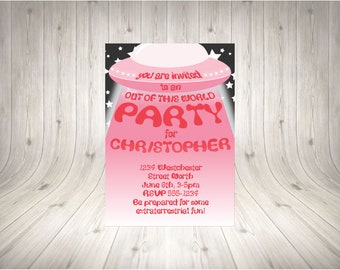 CUSTOMISABLE UFO Party Invitation PINK