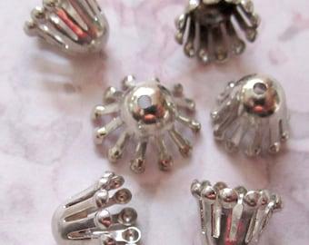 30 pcs. vintage silver tone atomic age bead caps - f3003
