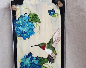 Hummingbird Blue Hydrangea hand painted tin sign door hanger
