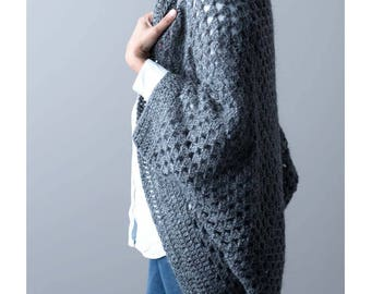 CROCHET PATTERN - Granny Cocoon Shrug Pattern - PDF Instant Download