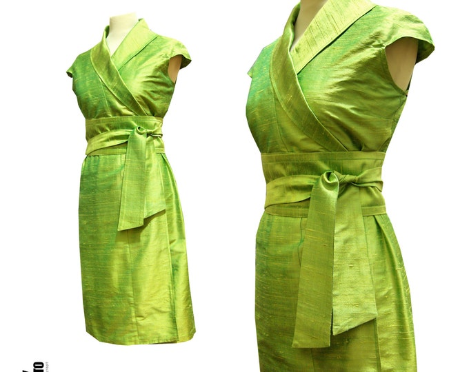 Green silk wrap dress in kimono style
