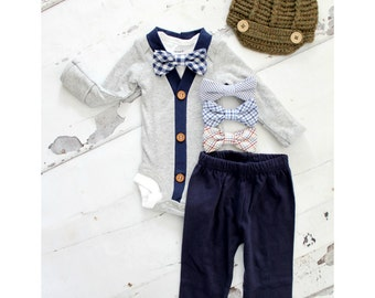 Newborn Baby Boy Coming Home Outfit Set up to 4 Items Cardigan Bodysuit, Bow Tie Bodysuit, Navy Blue Pants & Knit Newsboy Hat. Easter Spring