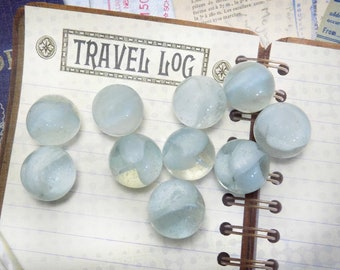 Swirl White Marbles -Clear glass marble , translucent Marbles -jewelry supplies marble - Vintage Marble lot - glass spheres  -# 23