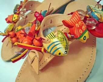"""Greek genuine leather handmade embellished sandals with wooden fishes  """"Fish Spa"""""""