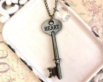 Cora - antique style key necklace with vintage chandelier prism - heart key necklace - key charm necklace