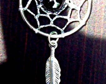 SILVER LINING ll Dream catcher necklace in silver with Hematite, dreamcatcher necklace, silver dream catcher necklace w/ hematite