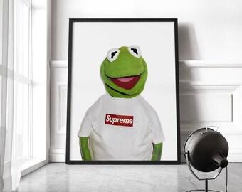 Kermit Frog Supreme Poster, Supreme X Kermit Poster Print Supreme Kermit The Muppets Supreme Kermit the frog puppet print poster