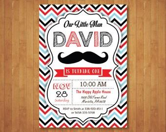 Mustache Birthday Invitation. Little Man Mustache Birthday Party Invitation. 1st First Boy Birthday. Red Blue Black Navy. Printable Digital.