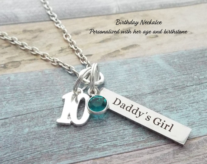 10th Birthday Gift for Girl, Father to Daughter Gift, Engraved Necklace, Gift for 10 Year Old Girl, Birthday for Daughter, Dad Gift to Girl
