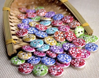"""30 PC Painted wood buttons 15mm - Wooden Buttons ,buttons, natural wood buttons """"flower"""" A114"""