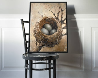 Three Bird Nest Art Print, Birds Nest With Three Eggs Poster Print, Bird Nest Artwork, Bird Nest with Eggs Painting Print, Nest Art