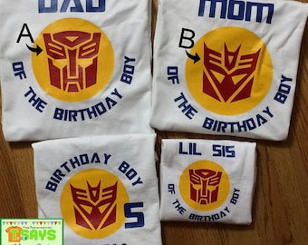 Transformer Birthday Family shirts