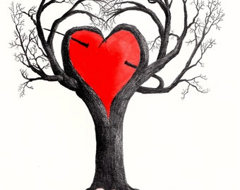 Red Heart Tree.This is an original drawing that can be reproduced  in 7x9 size a 5x7 size and a blank note card in a 5x7 on acid free paper