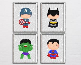 Superhero nursery printable art set, boys room art, superman, captain America, batman, hulk, parody art, playroom superhero decor download