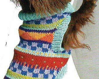 Pet Dog Sweater Coat Knitting Pattern Geometric Knit Dog Sweater Coat Knitting Pattern Small Med Large XL  PDF Instant Download