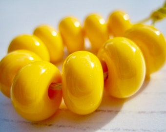Pastel Yellow Lampwork Glass Spacer Beads, SRA, UK Seller, UK Lampwork
