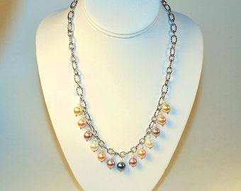 Multi-Colored Glass Pearl Necklace