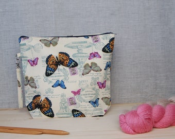 Large butterfly project bag, gift for knitter, sock sack, knitting wip bag, make up bag, work in progress, shawl bag, zipper pouch, uk