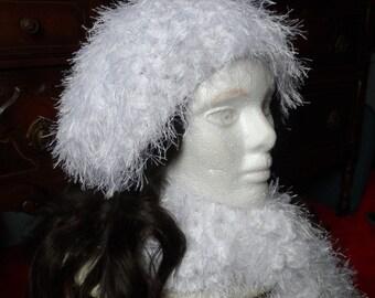 White Fuzzy Crochet Oversized Beanie Hat and Scarf Set