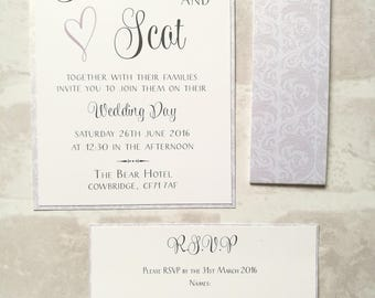 Damask Wedding Invitation with RSVP