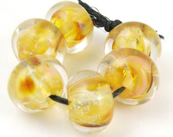 Golden Honey Encased SRA Lampwork Handmade Artisan Glass Donut/Round Beads Made to Order Set of 6 10x15mm