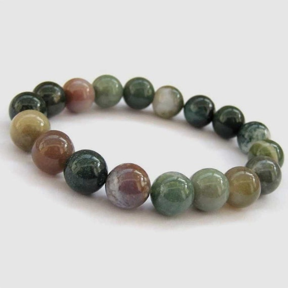 for dull stone green moss bracelet round item necklace jewelry beads natrual making matte agate polish