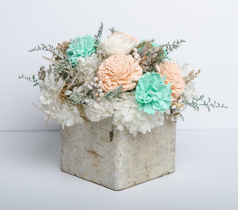 Mint Wedding Flowers: Mint Peach & Ivory Sola Flower Centerpiece Birch Wedding