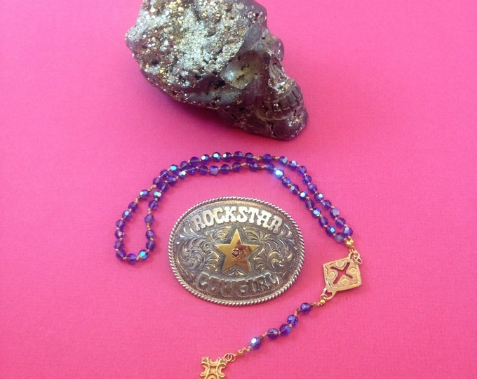 Rockstar Cowgirl Rosary Necklace, Tanzanite Crystal Silk Knotted Rosary with Artisan Crosses, Rosary Necklace