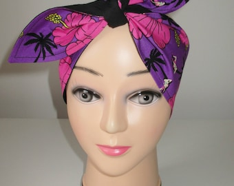 Rockabilly Pin Up Vintage 1950's 1940's Head Scarf Hair Tie Bow Purple Pink Tropical Holiday Scene