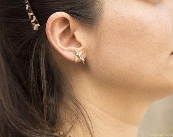 14K Gold Filled Sparrow Bird Post Stud Earrings, Tiny Gold Stud Earrings, Graduation Gift, Everyday Wear Earrings