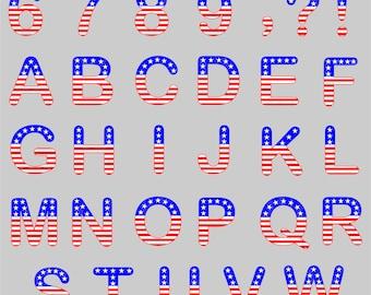 SVG Flag Alphabet, American Flag Alphabet SVG,  4th of July Svg, Alphabet svg, Patriotic Alphabet, Fourth of July Svg, ai, eps, dxf