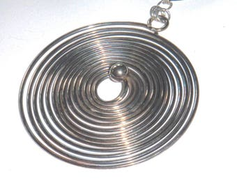 Vintage Silver Coiled Disk on Black Leather Cord Necklace