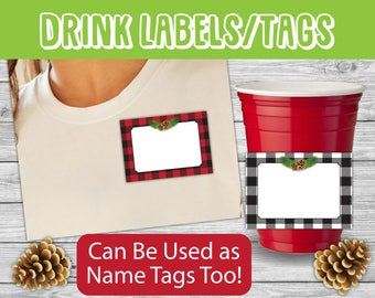 Christmas Labels Printable, Holiday Name Tags, Food Labels, Party Labels, Jar Labels, Digital Gift Tags, Frames, Place Cards, printable