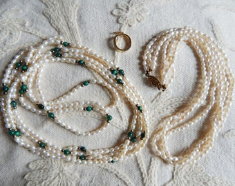 Two Beautiful Vintage Freshwater Rice Pearls Multistrand Necklaces - One Convertible and with Green Stone Beads - Possibly Nephrite Jade